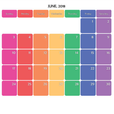 June 2018 Planner Calendar big editable note space specific color day on white background