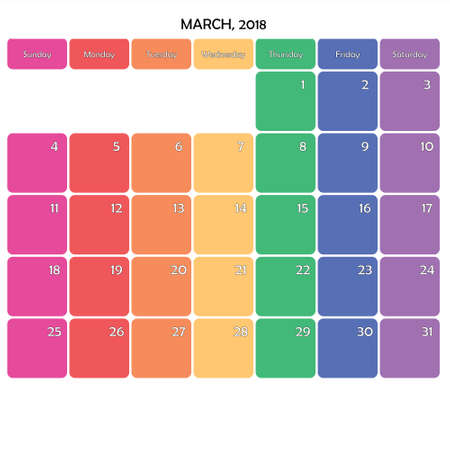 March 2018 Planner Calendar big editable note space specific color day on white background
