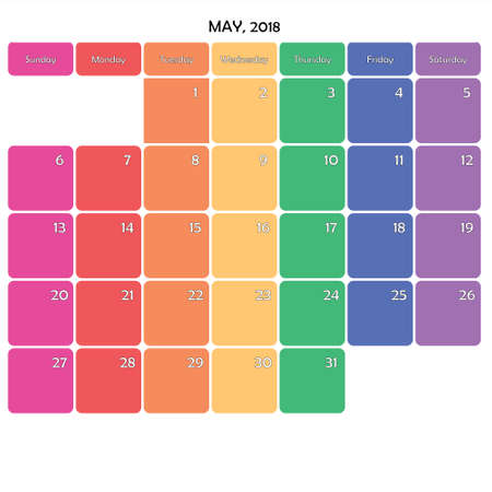 May 2018 Planner Calendar big editable note space specific color day on white background
