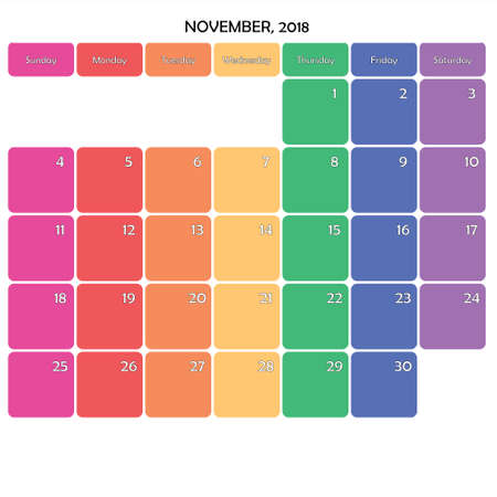 November 2018 Planner Calendar big editable note space specific color day on white background Illustration