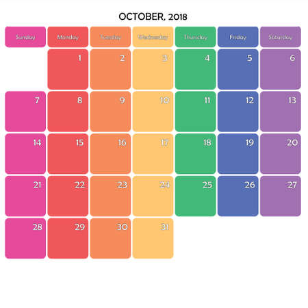 October 2018 Planner Calendar big editable note space specific color day on white background