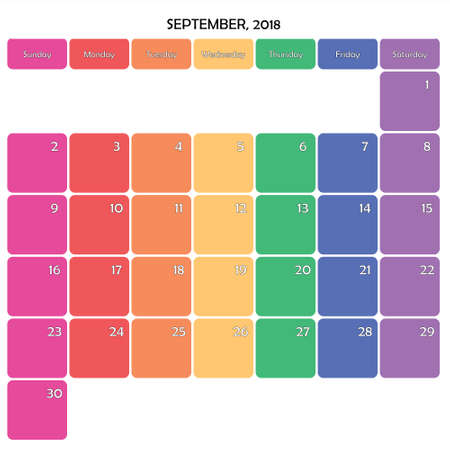 September 2018 Planner Calendar big editable note space specific color day on white background Illustration