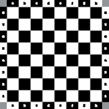Chess table classic with gray bordered squares and with numbering and lettering competition ready solid black and solid white collored