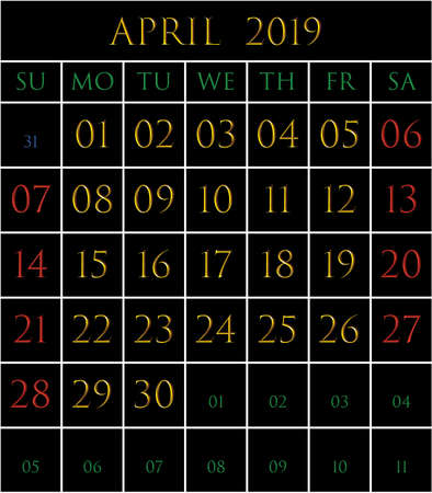 2019 Calendar for the month of April on black background rectangles bordered with white Illustration