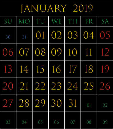 2019 Calendar for the month of Janury on black background rectangles bordered with white