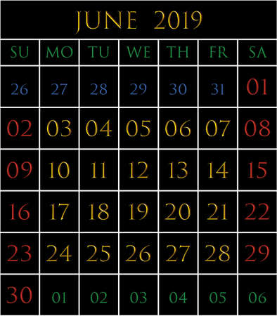 2019 Calendar for the month of June on black background rectangles bordered with white Illustration
