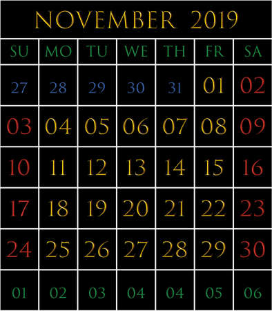 2019 Calendar for the month of November on black background rectangles bordered with white Illustration