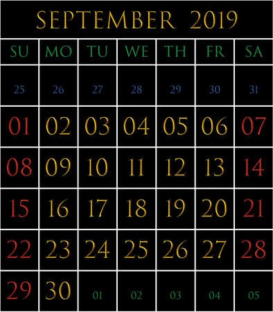 2019 Calendar for the month of September on black background rectangles bordered with white