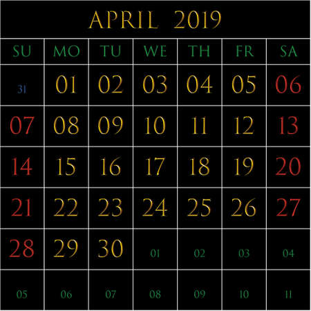 2019 Calendar for the month of April on black background rectangles bordered with white Иллюстрация