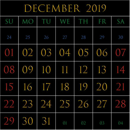 2019 Calendar for the month of December on black background rectangles bordered with white