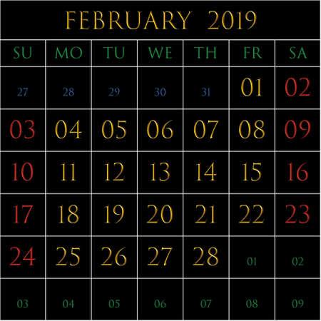 2019 Calendar for the month of February on black background rectangles bordered with white