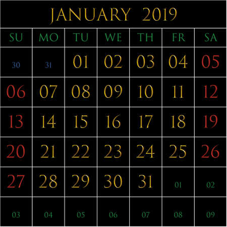 2019 Calendar for the month of January on black background rectangles bordered with white Illustration