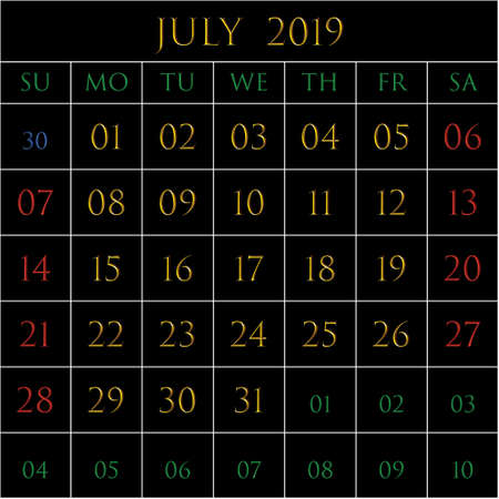 2019 Calendar for the month of July on black background rectangles bordered with white Illustration