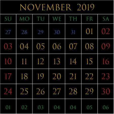 2019 Calendar for the month of November on black background rectangles bordered with white Иллюстрация