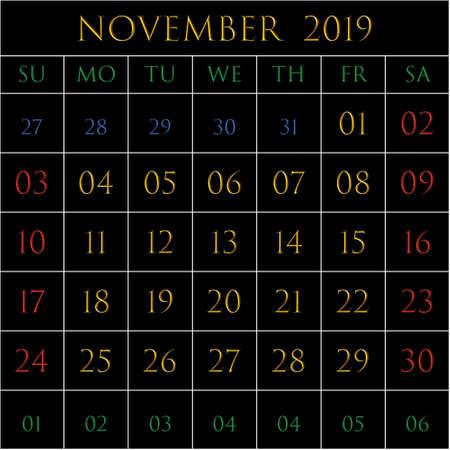 2019 Calendar for the month of November on black background rectangles bordered with white Illustration