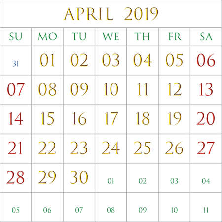 2019 Calendar for the month of April on white background rectangles bordered with gray