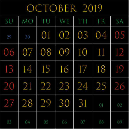2019 Calendar for the month of October on black background rectangles bordered with white Illustration