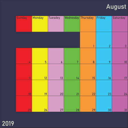 August 2019 Calendar Planer with specific color for each weekday and month color