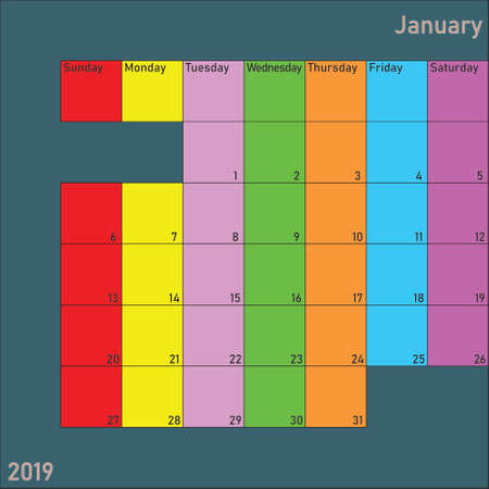 January 2019 Calendar Planer with specific color for each weekday and month color Illustration