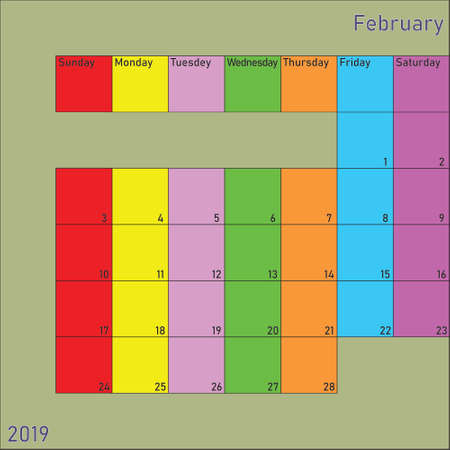 February 2019 Calendar Planer with specific color for each weekday and month color