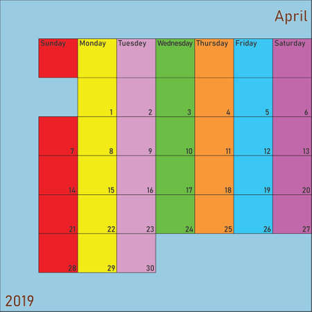 April 2019 Calendar Planer with specific color for each weekday and month color