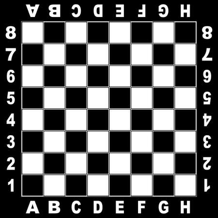 Chess table white black board for competition original design with field coordinates white on black background Illustration