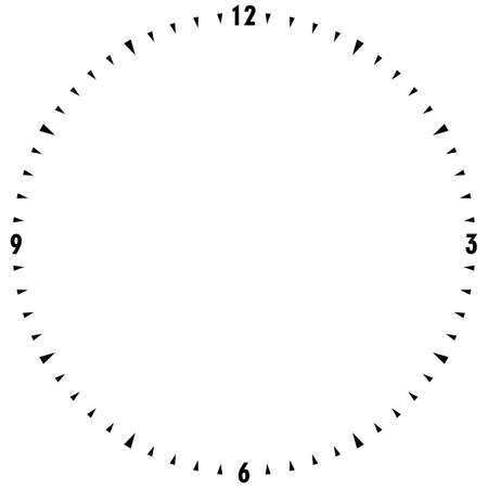 Watch dial with black numbers wrapped on gray black signs on transparent background Illustration