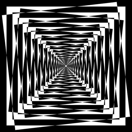 Abstract Arabesque Tunel Tower Multiple Perspective black on transparent background Illustration