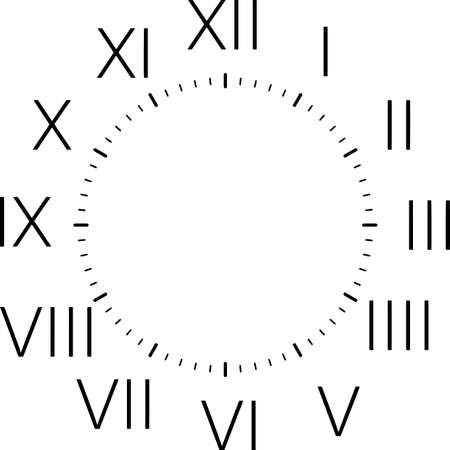 clock dial with black roman vertical numbers on transparent background Standard-Bild - 124781137