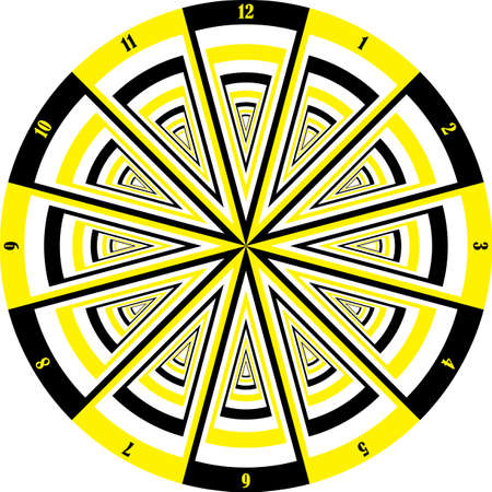 clock dial black yellow signs muptiple perspective vertical numbers on transparent background graphic design