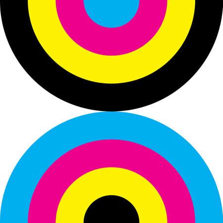 CMYK cyan magenta yellow black double demi circle background designer graphic
