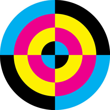 CMYK cyan magenta yellow black target circle background designer graphic