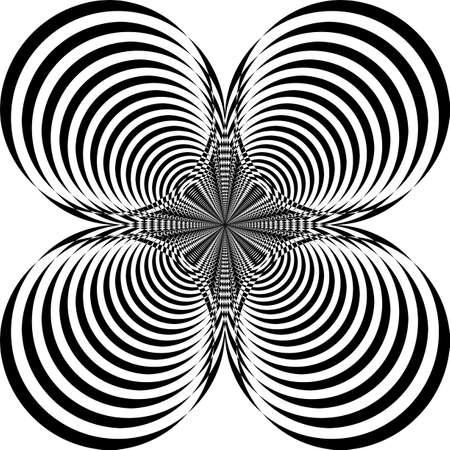 Arabesque pseudo tridimensional four circles marina wave target structure illusion on transparent background arabesque graphic design