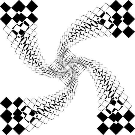 Spining quadrante aquilone quattro code come arabesco satellite ispirato strukture taglio astratto illustrazione art deco su sfondo trasparente