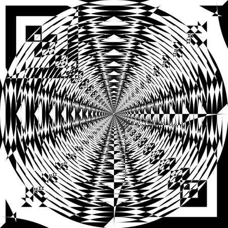 Asymetrivcal vortex of shapes fan illusion arabesque satelite  inspired strukture abstract cut art deco illustration on transparent background Vectores