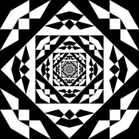 Square plaid descending illusion arabesque satelite  inspired strukture abstract cut art deco illustration on transparent background
