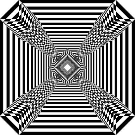 Square plaid windmill illusion arabesque satelite  inspired strukture abstract cut art deco illustration on transparent background