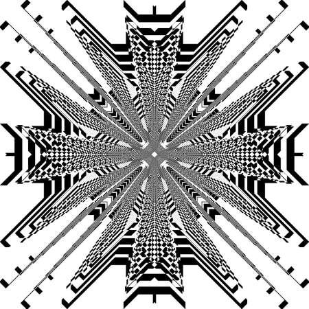 Square plaid pagoda like spider net illusion arabesque satelite  inspired strukture abstract cut art deco illustration on transparent background