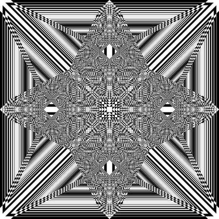 Square plaid imperial like spider net illusion arabesque satelite  inspired strukture abstract cut art deco illustration on transparent background Stock Illustratie
