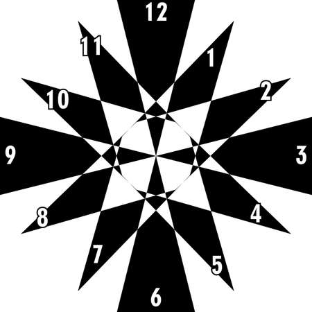clock dial black triangle based signs with white hourly numbers black borgered on transparent background
