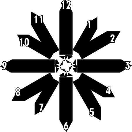 clock dial black rectangle based signs with white hourly numbers black borgered on transparent background