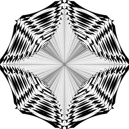 fan like spider net illusion arabesque satelite  inspired strukture abstract cut art deco illustration on transparent background Stock Illustratie