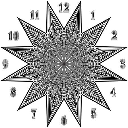 clock dial big composit numbers super stellar axes signs pointing negative space for seconds on transparent background Stock Illustratie