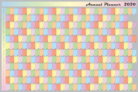 Annual planner 2020 specific color for each day of the week black letters with white contour Stock Illustratie