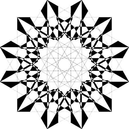 Abstract arabesque asimetrical simetry clock dial like black on transparent background