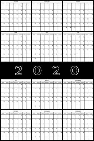 2020 Planner Calendar big editable space ON BLACK BACKGROUND Stock Illustratie