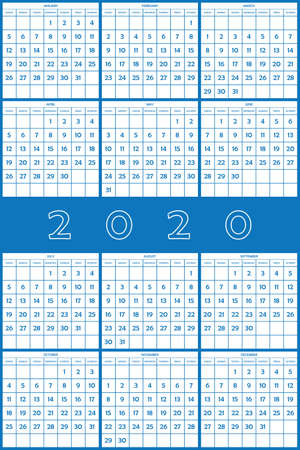 2020 Planner Calendar big day numbers big editable space on blue designer cut