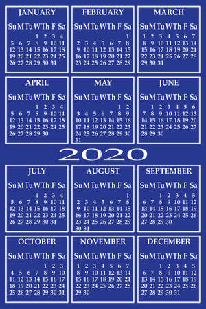 CALENDAR 2020 on blue background with specific color for each day of the week