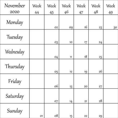 November 2020 Planner with number for each Weak black on transparent background