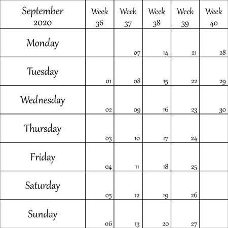 September 2020 Planner with number for each Weak black on transparent background
